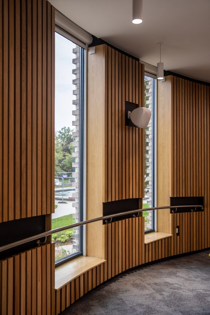 The curved glass installed by Glass & Stainless at the Business School.
