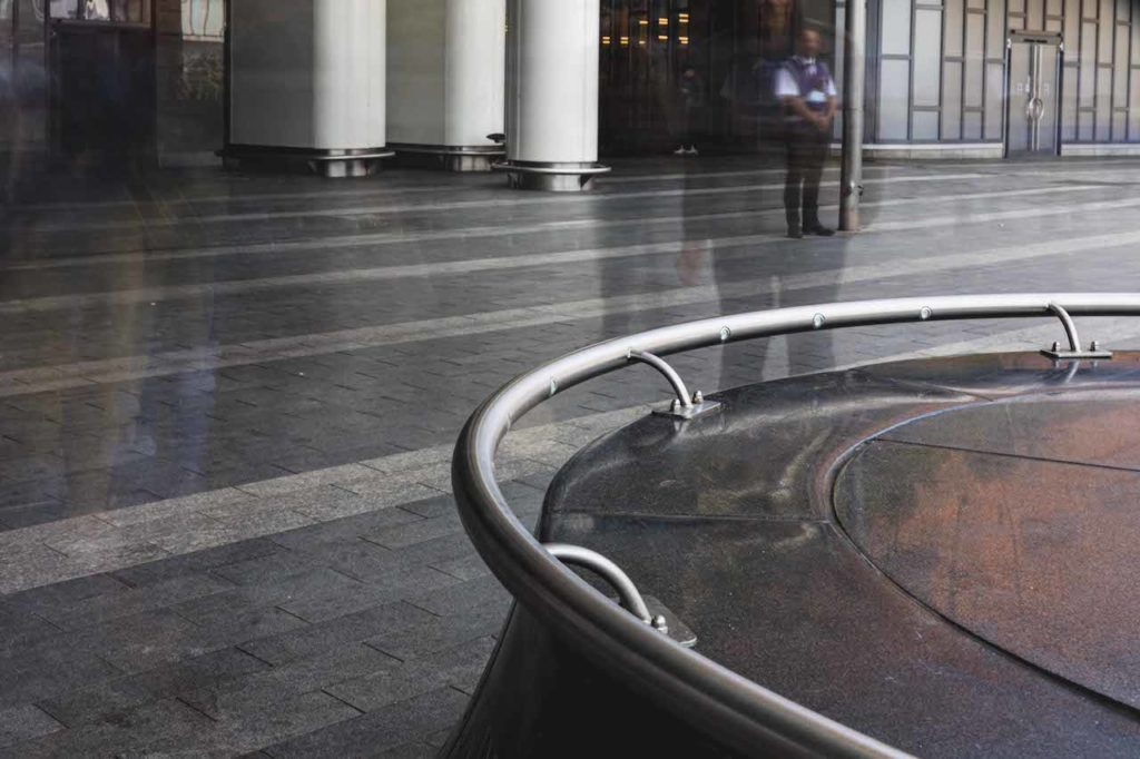 The handrail installed by Glass & Stainless sits within the Birmingham New Street Station.